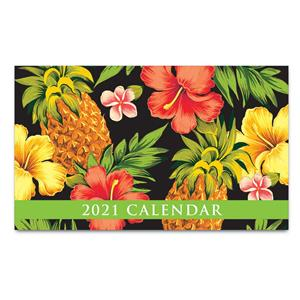 2021 Pocket Calendar, Tropical Pineapple - Black