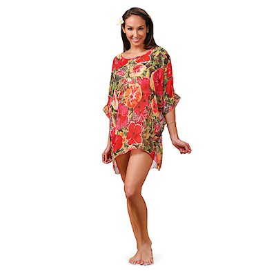 Hibiscus Impressions Scoop Neck Cover Up