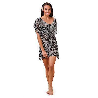 Coral Reef Black Drawstring Cover Up