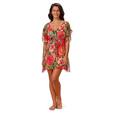 Hibiscus Impressions Drawstring Cover Up