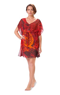 Nautilus Red Drawstring Cover Up