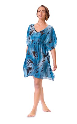 Palm Leaf Black/Blue Drawstring Cover Up