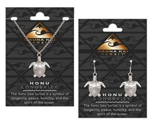 Honu Silver Charm Earring & Necklace Set