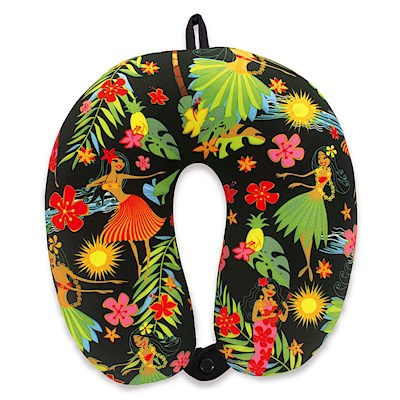 Travel Neck Pillow, Island Hula Honeys - Black