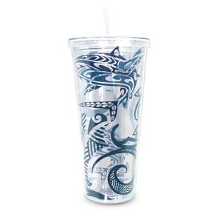 24oz. Tribal Shark Travel Tumbler with Straw