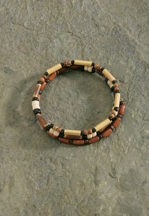 Wood Bracelet, Wrap - Medium Beads *