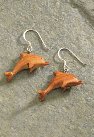 Wood Earrings 1-pr, Fashion Dolphin