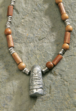Wood Beaded Cord, Pewter - Tiki