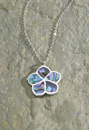 Pewter Chain Pewter Paua - Hibiscus