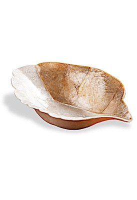 Natural/Gold Finish Leaf Bowl 7""