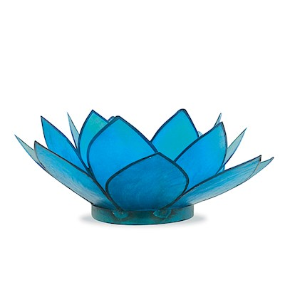 Capiz Tealight Holder Lotus - Blue