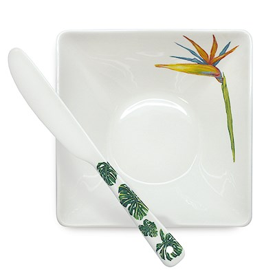 LRA Tropical Garden, Dip Bowl & Spreader