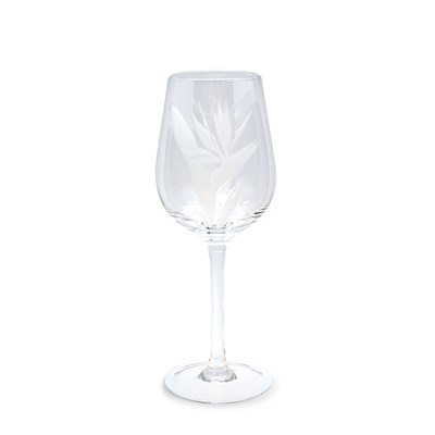 Etched Wine Glass, Bird of Paradise (Set of 4)