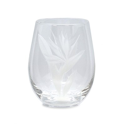 Etched Stemless Wine Glass, Bird of Paradise (Set of 4)