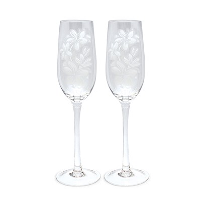 Etched Champagne Flute Set, Plumeria