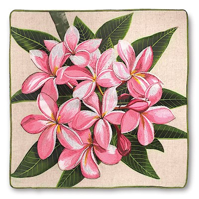 Cotton Linen 18x18 Cover, Pink Plumeria