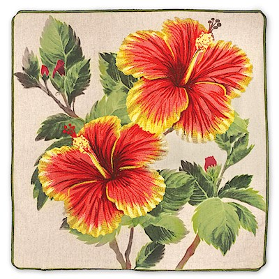 Cotton Linen 18x18 Cover, Yellow/Red Hibiscus