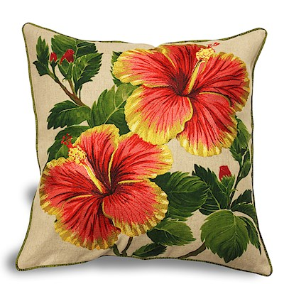 Cotton Linen 18x18 Pillow, Yellow/Red Hibiscus