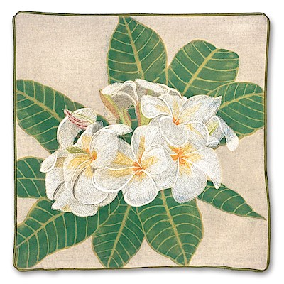 Cotton Linen 18x18 Cover, White Plumeria