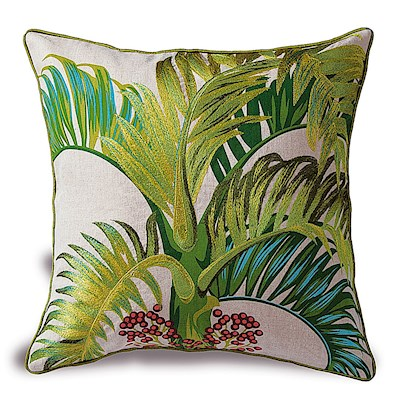 Cotton Linen 18x18 Embroidery Pillow - Manila Palm