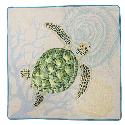 COTTON LINEN EMBROIDERED PILLOW COVER - HONU VOYAGE