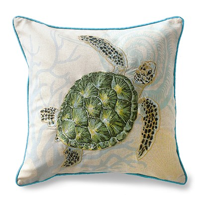 COTTON LINEN EMBROIDERED PILLOW - HONU VOYAGE