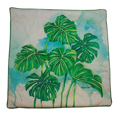 LRA Cotton Linen 18x18 Cover Embr., Monstera Grove