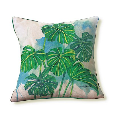 LRA Cotton Linen 18x18 Pillow Embr., Monstera Grove