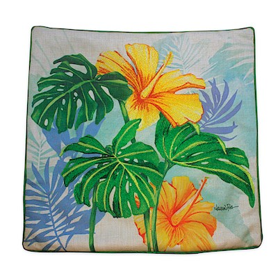 LRA Cotton Linen 18x18 Cover Embr., Monstera Hibiscus
