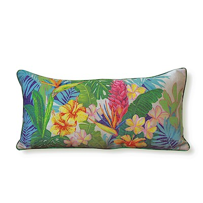 LRA Cotton Linen 20x10 Pillow Embr., Island Blossoms