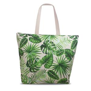 Tropical Beach Tote, Monstera - Green