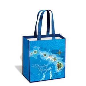 Island Tote, Hawaii Map - Blue