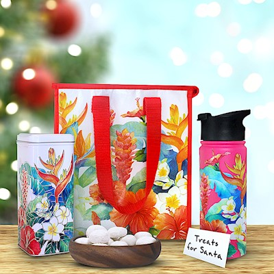 Island Garden Flask & Tote Gift Set with Tin Cookies (Pink)