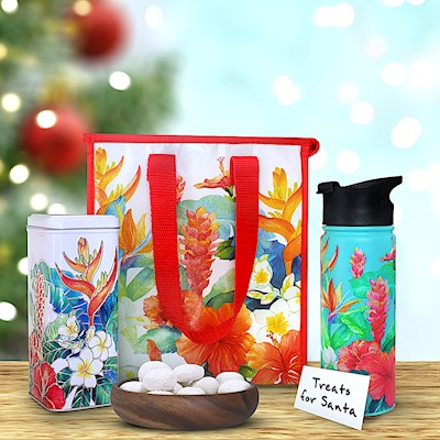 Island Garden Flask & Tote Gift Set w/ Tea Cookies (Teal)