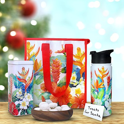 Island Garden Flask & Tote Gift Set w/ Tea Cookies