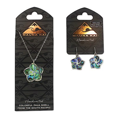 Earring & Necklace Set, Paua Hibiscus