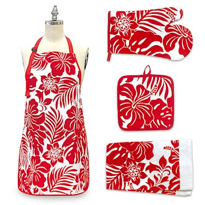 Hibiscus Floral Red Kitchen Accessories Gift Set