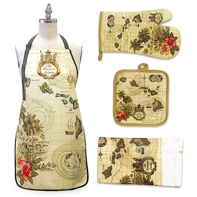 Islands of Hawaii - Tan Kitchen Accessories Gift Set