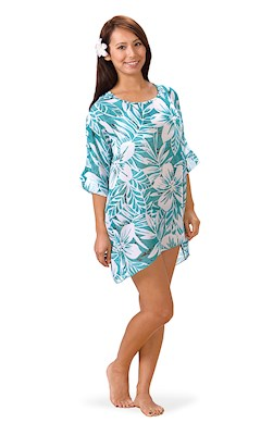 Tropical Teal Scoop Neck Cover Up