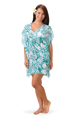 Tropical Teal Drawstring Cover Up