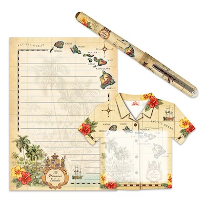 Stationery Gift Set, Islands of Hawaii - Tan