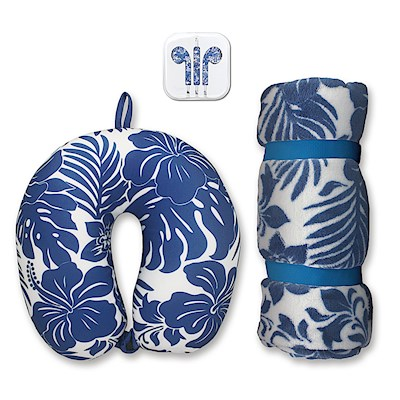 Travel Accessories Set, Hibiscus Floral Blue