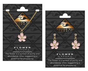 Flower Gold Charm Earring & Necklace Set