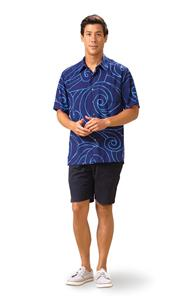 Ocean Waves Navy/Periwinkle Kai Mens Classic Shirt (Medium)