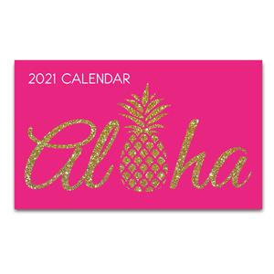 2021 Pocket Calendar, Aloha Pineapple - Pink