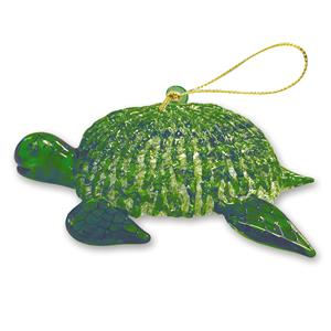 Glass Lace Ornament, Honu - Green