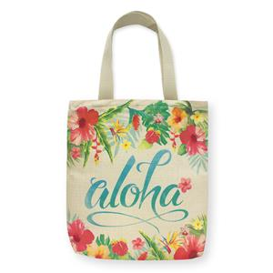 Woven Tote, Aloha Floral (Pink Zipper)