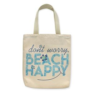 Woven Tote, Beach Happy (Turquoise Zipper)