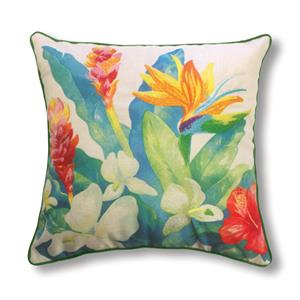 Cotton Linen 18x18 Pillow, Bird of Paradise