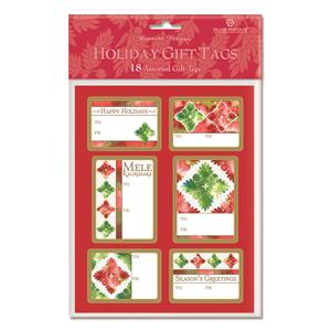 Adhesive Gift Tag 18-pk, Quilted Holidays